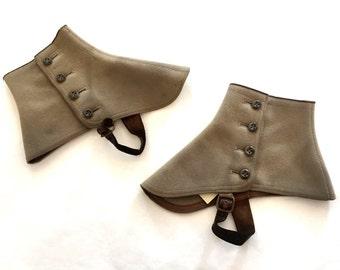 Vintage leg spats 1940s Leg Spats Beige leg spats Felt leg spats Button Up leg spats Large leg spats gangster leg spats victorian leg spats