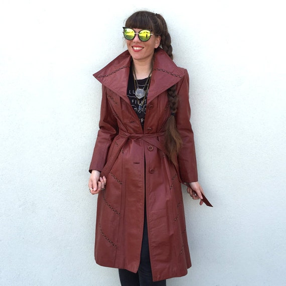 Vintage trench coat 1970s trench coat red trench c