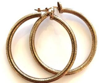 Vintage earrings Sterling Silver earrings Italian-Made earrings Hoop Earrings Classic earrings Rosato earrings Rose Gold earrings gold hoops