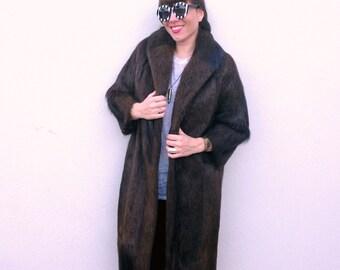 Vintage coat brown coat Mink fur coat fur mink coat fur coat Winter coat Fall Coat Jacket 1950s coat 1940s coat Long Fur Coat warm coat