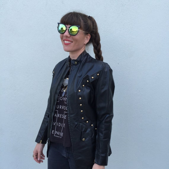 Vintage jacket black jacket Studded jacket leather
