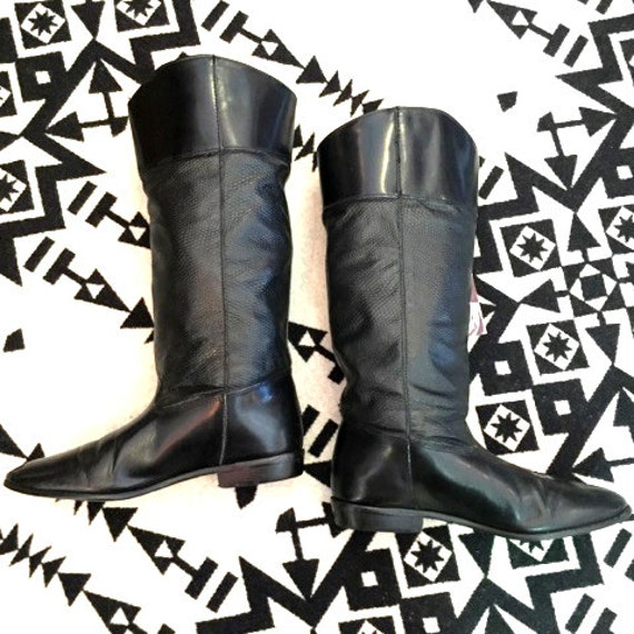 Vintage Riding Boots Black Leather Riding Boots Te
