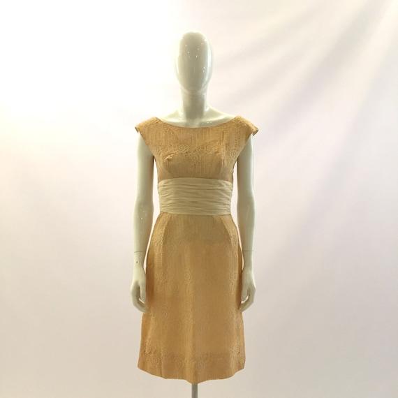 Vintage Dress 1960s Dress Cream Dress White Dress