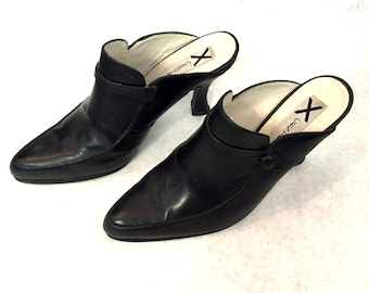 Vintage High Heels Black Leather High Heels Mules Centrica Womens Shoes Size 6.5 Shoes Leather Pumps Black Leather Pumps Black Leather Mules