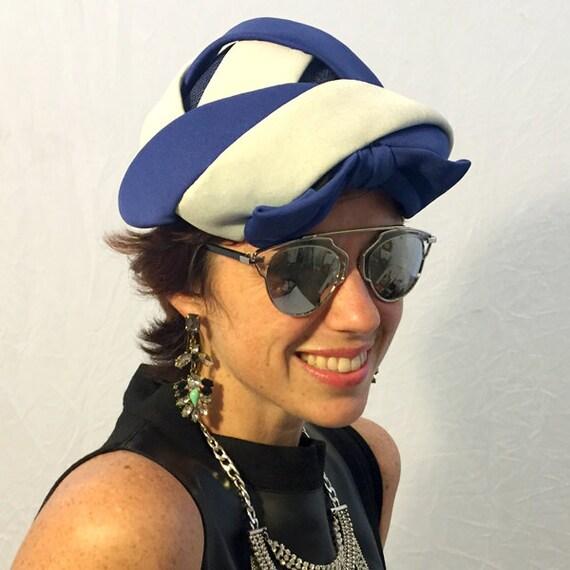 Vintage hat polysester hat cage hat blue hat white