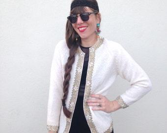 Vintage cardigan 1950s cardigan cream cardigan beaded cardigan Winter sweater Holiday Sweater Medium cardigan gold floral ornate cardigan