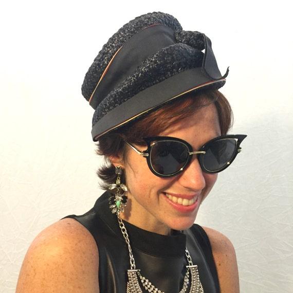 Vintage hat navy blue hat woven hat 50s/60s/70s h… - image 1