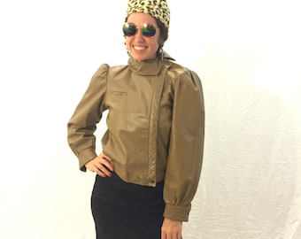 Vintage jacket leather jacket beige jacket 80s/90s jacket
