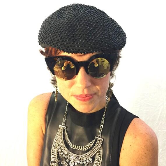 Vintage hat blue hat beaded hat 40s/50s/60s hat f… - image 5