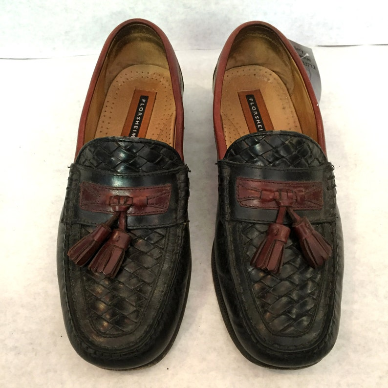 17342fac22e Vintage Loafers Mens Loafers Woven Shoes Black Loafers