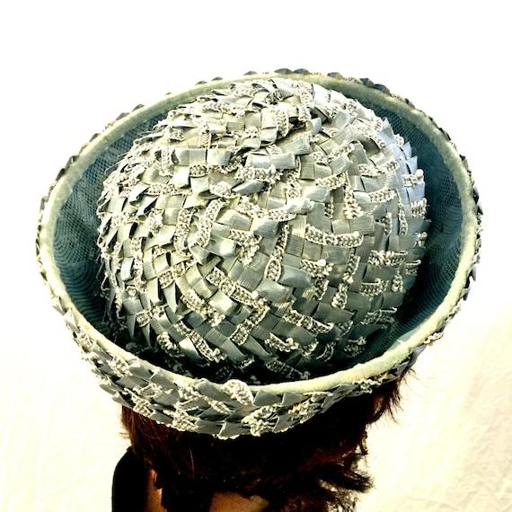 Vintage hat blue hat woven hat 40s/50s/60s hat - image 5