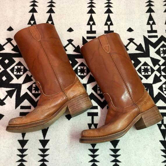 Vintage Cowboy Boots Mens Leather Cowboy Boots Squ