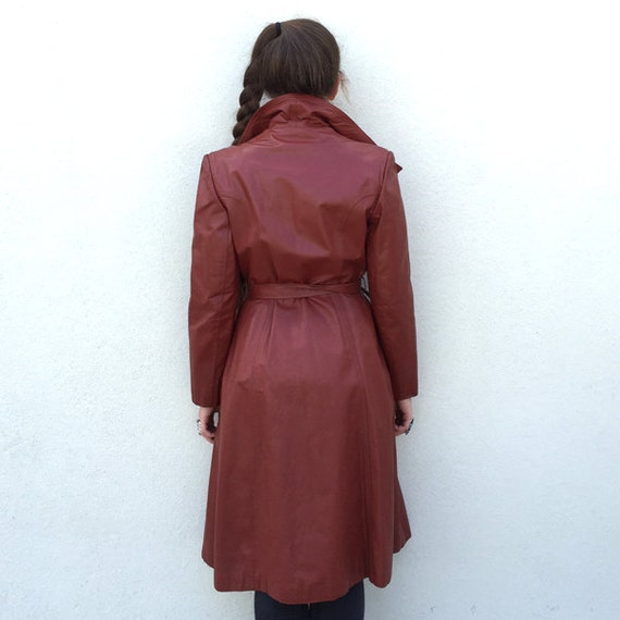 Vintage trench coat 1970s trench coat red trench … - image 4