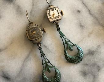 Hand-made earrings Vintage earrings Watch Face earrings Clock Earrings Antique earrings Silver earrings Retro earrings Victorian Steam punk