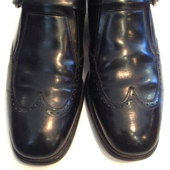 Vintage Loafers Mens Loafers Black Leather Loafer… - image 5