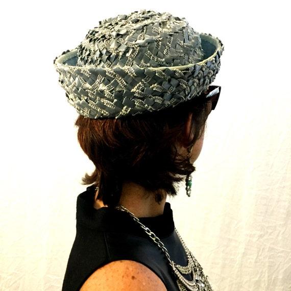 Vintage hat blue hat woven hat 40s/50s/60s hat - image 4
