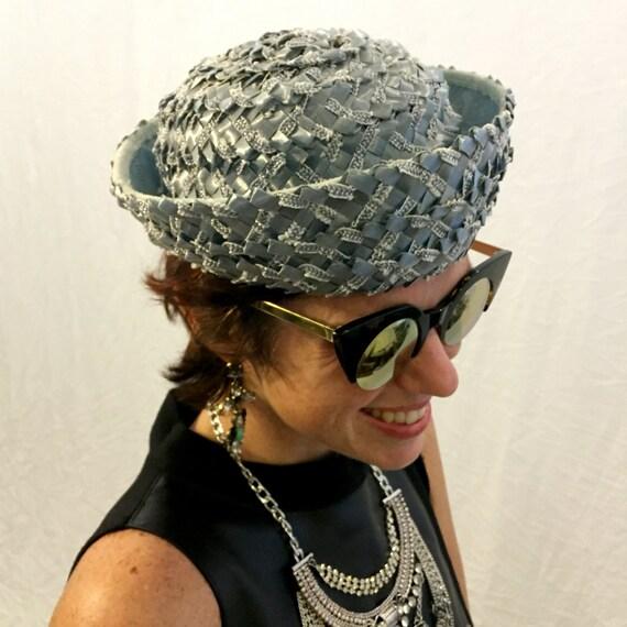 Vintage hat blue hat woven hat 40s/50s/60s hat - image 3