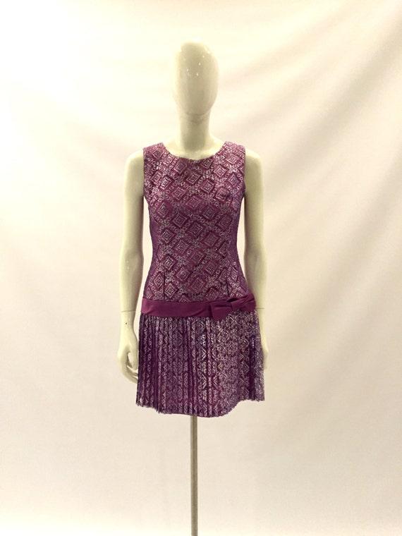 Vintage Dress 1960s Dress Purple Dress Lace Dress