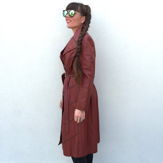 Vintage trench coat 1970s trench coat red trench … - image 3