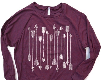 Womens ARROWS Slouchy Tri-Blend Pullover hand screen printed S M L (+ Color Options) gym yoga workout t-shirt