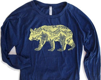 Womens California BEAR Tri-Blend Slouchy Pullover T-Shirt hand screen printed S M L (+ Color Options) workout berkeley gym