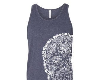 Unisex Day Of The DEAD 2 Tri Blend Tank -hand screen printed xs s m l xl xxl (+ Colors) workout