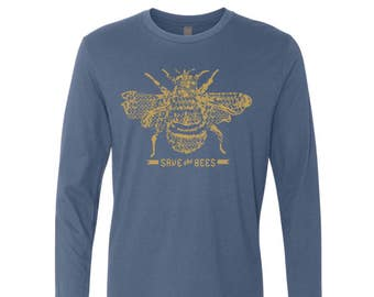 Mens Long Sleeve SAVE The BEES T Shirt s m l xl xxl (+ Color Options) custom