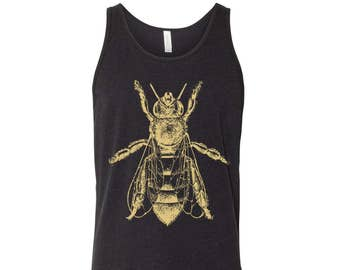 Unisex HONEY Bee Tri Blend Tank -hand screen printed xs s m l xl xxl (+ Color Options) workout