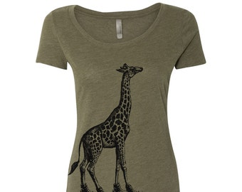 Womens GIRAFFE Scoop Neck Tee  - T Shirt S M L XL XXL (+ Colors)
