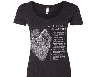 818c6ca39 Womens Anatomical HEART Scoop Neck Tee - T Shirt (+ Colors)