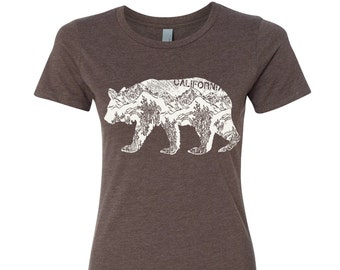 Womens California BEAR T-Shirt -hand screen printed s m l xl xxl (+ Colors Available) custom