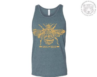 Unisex SAVE the BEES Tri Blend Tank -hand screen printed xs s m l xl xxl (+ Color Options) workout