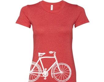 Womens Vintage  BIKE T Shirt -hand screen printed s m l xl xxl (+ Colors) custom