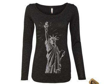 7c29cda2 Womens Lady LIBERTY Long Sleeve Scoop Neck Tri Blend t shirt [+Colors]  Statue of Liberty Women's March. $24.00 FREE shipping