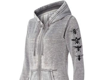 Womens BEES Sleeve Print Fleece Full Zip Hoody S M L XL XXL (limited print run)