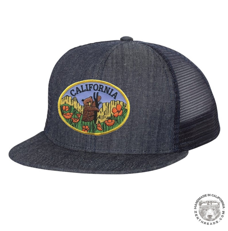 b9513df76 California Bear Poppies Embroidered Patch Flat Bill Six-Panel Trucker Cap  Hat. Navy Denim.Hat