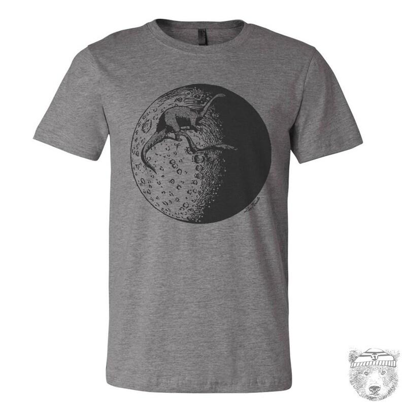 4753cb84d7ce9 Mens MOON Dinosaurs t shirt hand screen printed Zen Threads custom color  printed tee