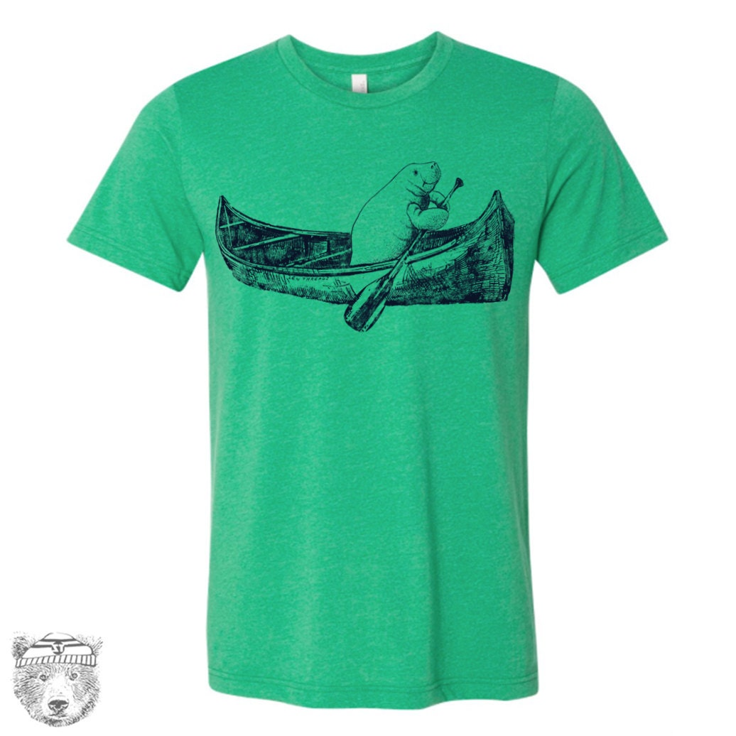 Mens Manatee In A Canoe T Shirt Custom Color Printed Tee Etsy