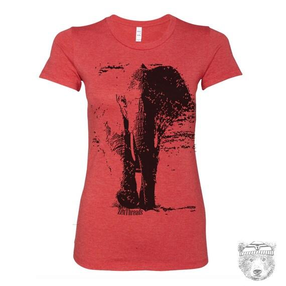 5a863d9d1 Womens ELEPHANT T-Shirt hand screen printed Colors