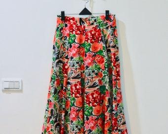 80s Red Flowers Skirt