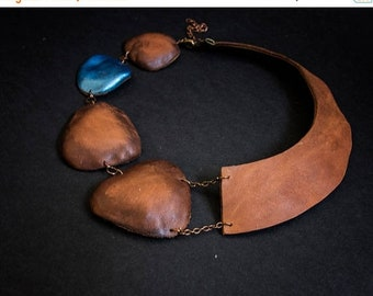 50% OFF SALE Leather collar necklace Elegant copper and blue color Jewelry Pendant Statement Wide asymmetric collar