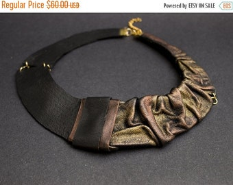 50% OFF SALE Elegant Leather necklace Bib necklace Collar. Copper and gold color Statement jewelry