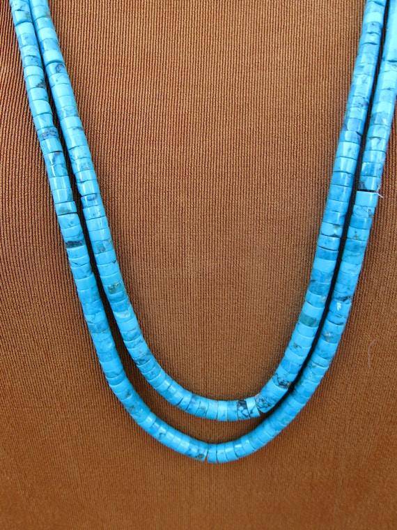 Vintage Turquoise Necklace, Turquoise Discs, Santo