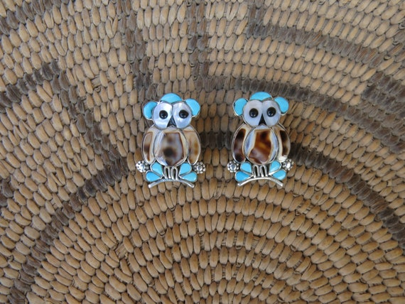Zuni inlay owl earrings, Zuni inlay jewelry, owl j