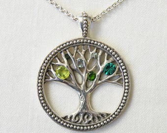 Tree of Life Necklace, Sterling Silver with Green Gemstones