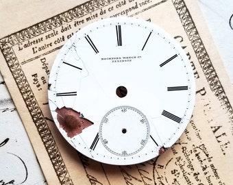 Vintage Porcelain Enamel Pocket Watch Face Dial. Antique, Hardware, Salvaged, Steampunk, Altered Art, Mixed Media, Jewelry, Destash Sale.