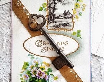 Antique Skeleton Key. Long Vintage Skeleton Key. Rusty, Hardware, Salvaged, Steampunk, Altered Art, Mixed Media, Jewelry, Destash Sale.