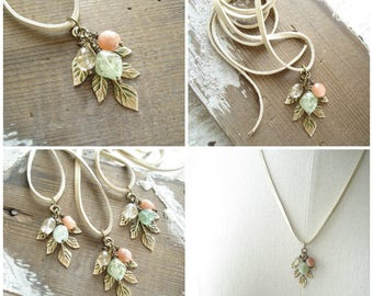 Leaf Necklace. Gemstone Necklace. Painted Brass, Sunstone, Aquamarine, Golden Rutilated Quartz, Leather Necklace. Artisan Gemstone Jewelry.