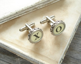 Typewriter Key Cufflinks SALE - Hugs and Kisses X O Vintage Typewriter Key Jewelry. Upcycled Steampunk Dads Grads Wedding Eco Friendly Gift.