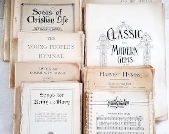 Vintage Sheet Music. Aged Paper Bundel, Musical Ephemera, Old Hymnals, Songs, Salvaged, Repurposed, Altered Art, Mixed Media, Destash Sale.
